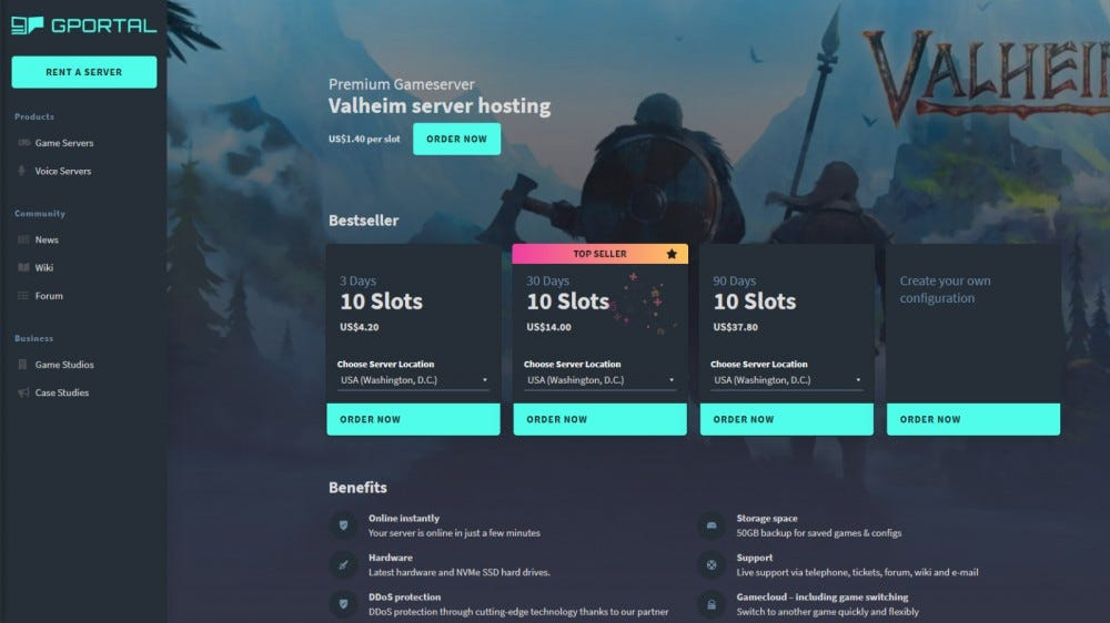 The 'Valheim' server rental page of G-Portal