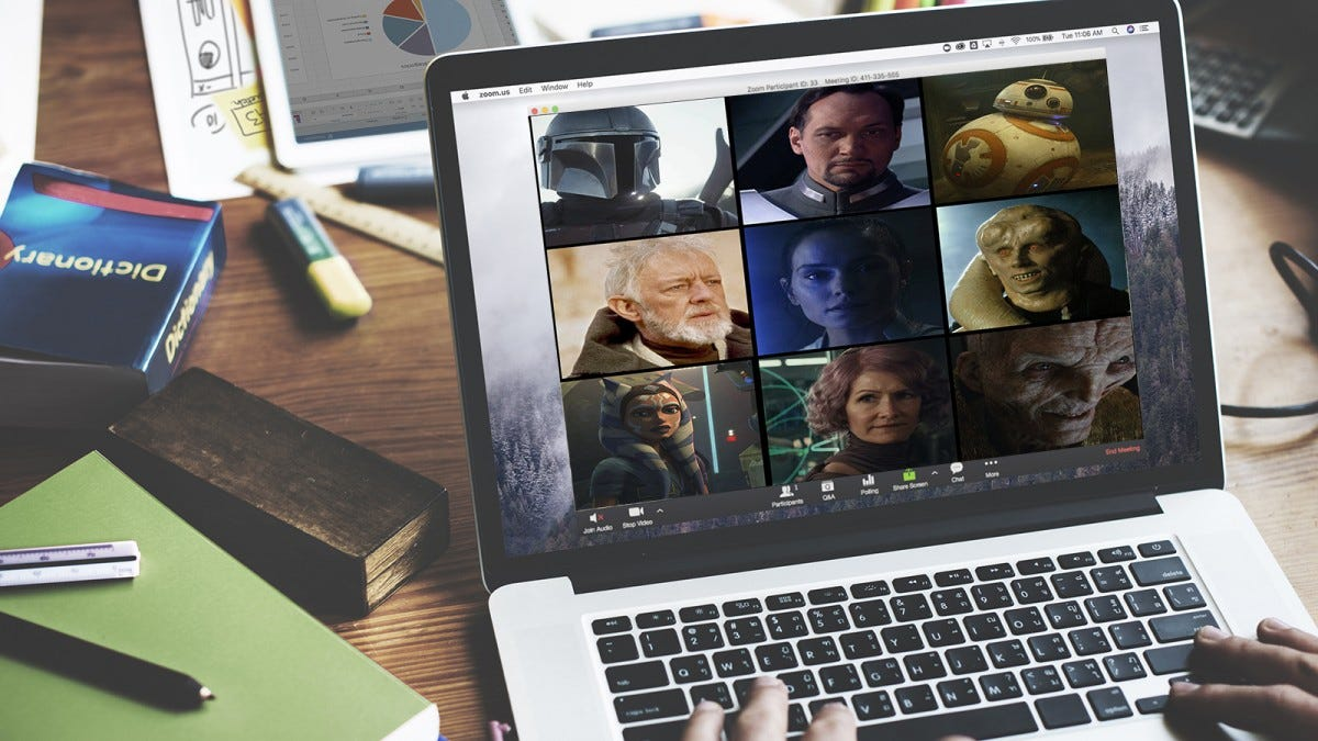 A Zoom call with various characters from Star Wars