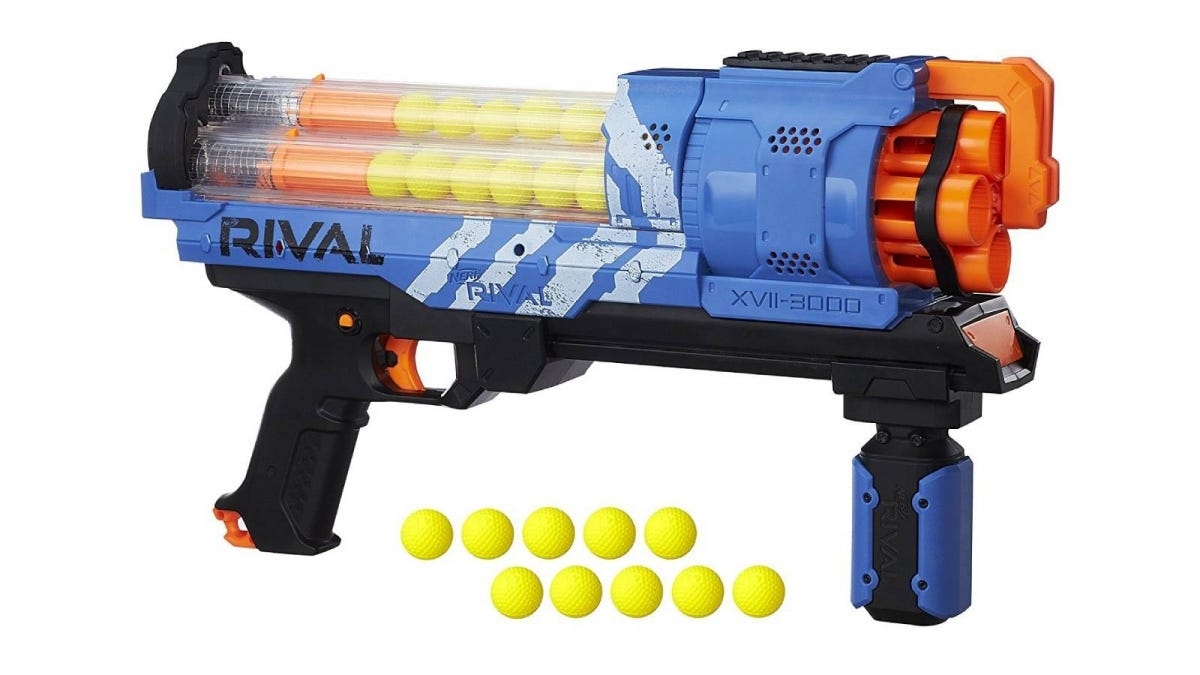 The NERF Rival Artemis XVII-3000 toy gun and nerf ball ammo.
