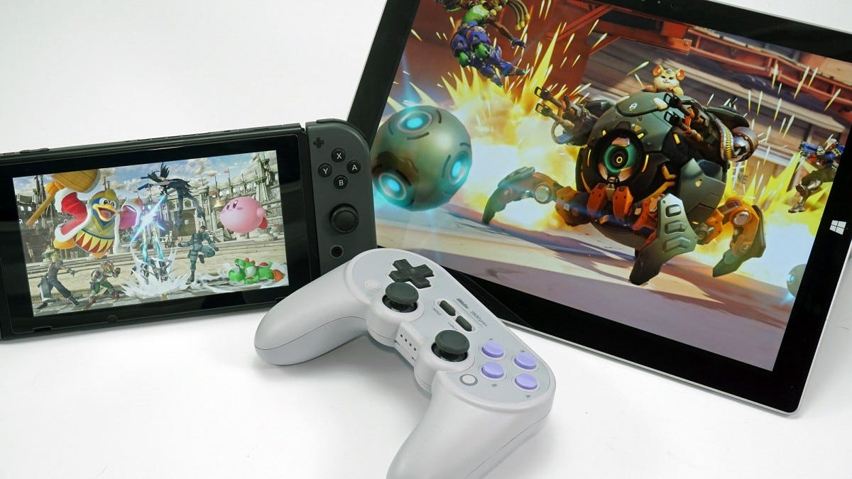 the SN30 Pro+ controller with a Surface tablet and Nintendo Switch console