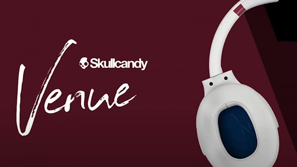 Skullcandy Venue headphones against a red background