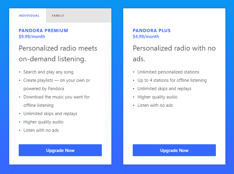Pandora's premium paid options.