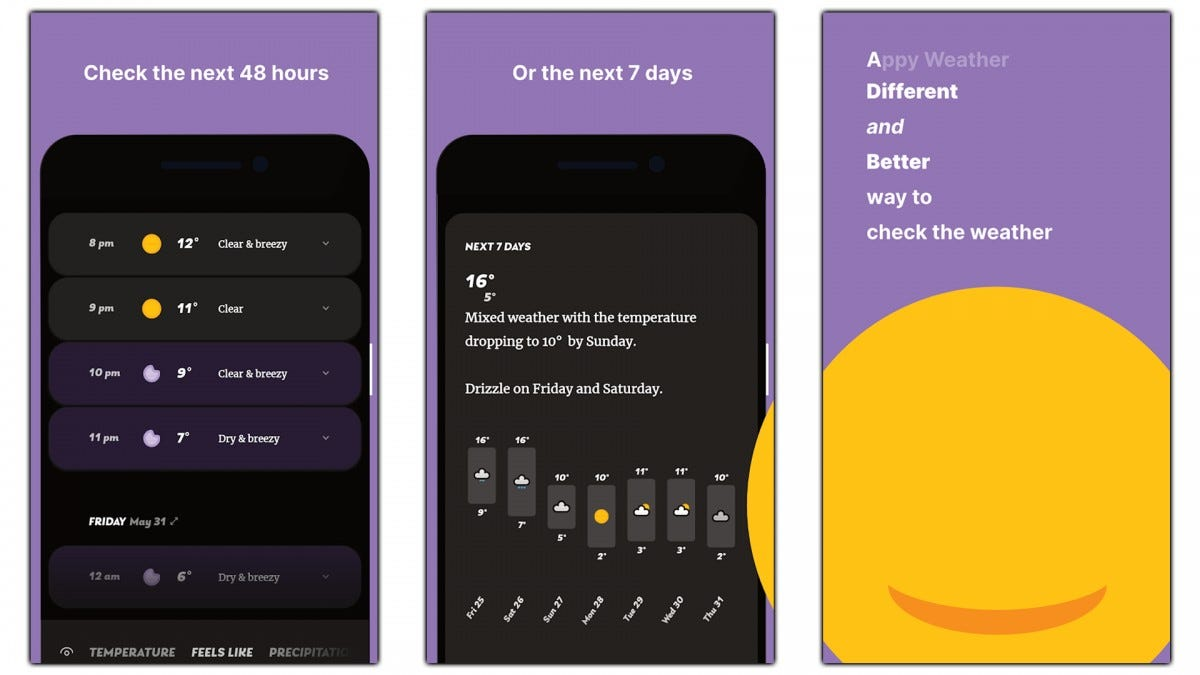 Screenshots of the Appy Weather app.