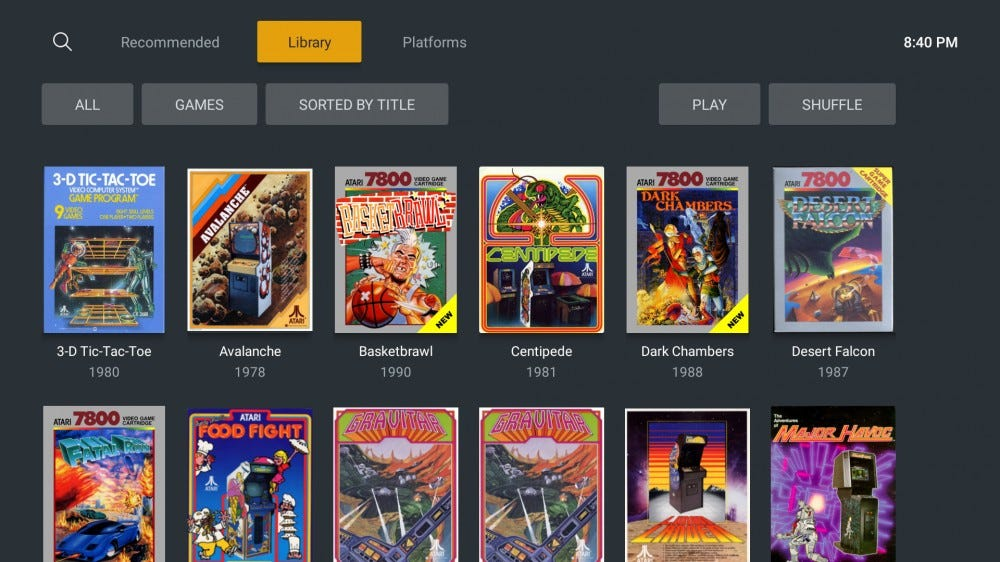 A Plex library filled with Game Roms from Atari