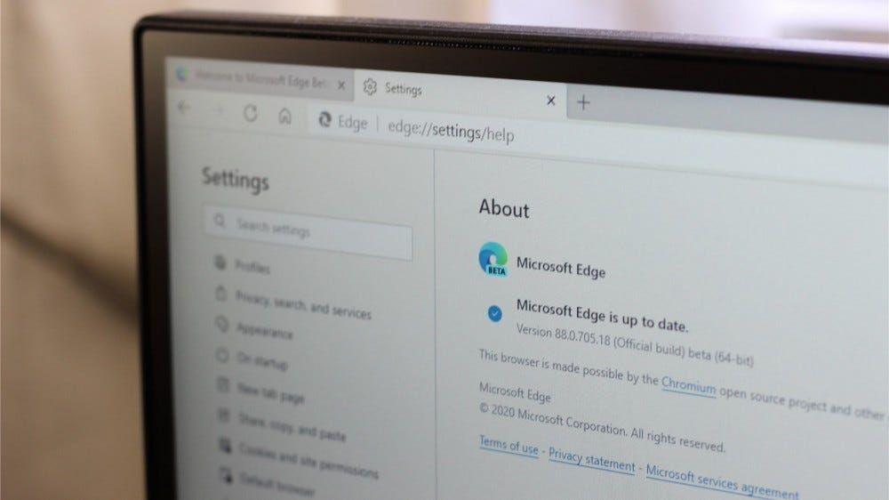 A picture of Microsoft Edge Beta's settings menu