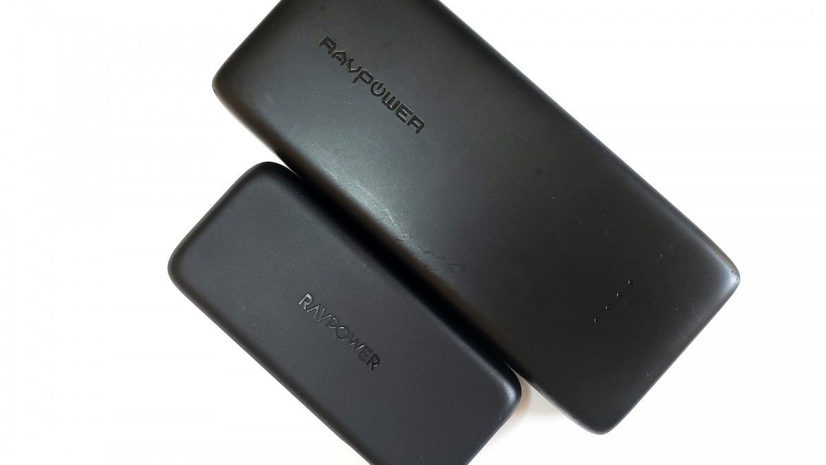 A photo of the new RAVPower 29-watt battery next to an older, larger 20,000 mAh RAVPower battery.