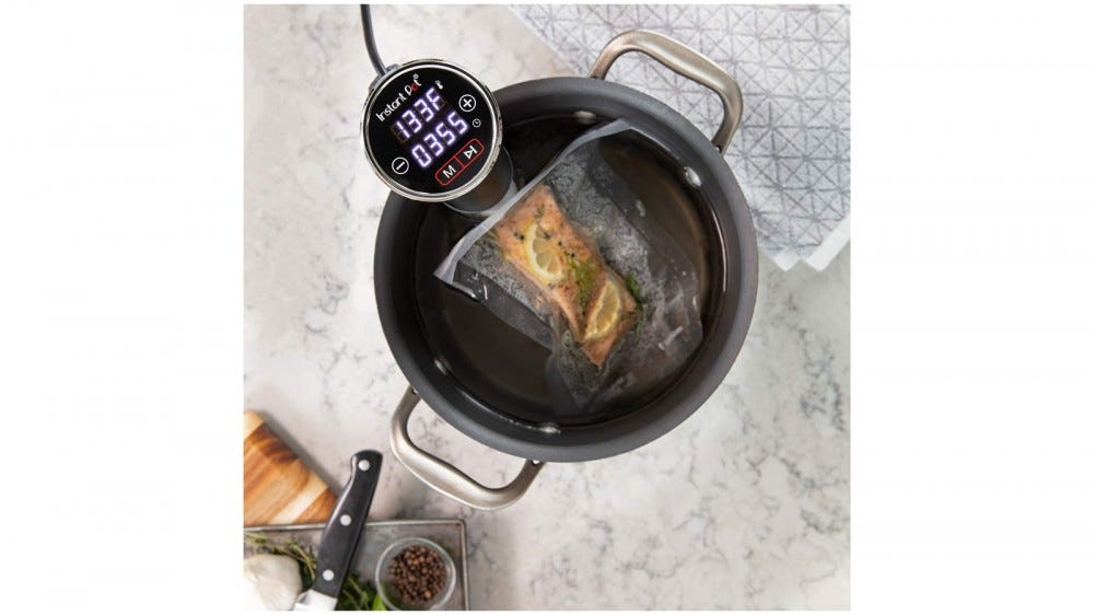 Instant Pot Sous Vide best sous vide for Father's Day 2020 easy to use can attach to Instant Pot cooks up to 10 hours up to 195 degrees Fahrenheit