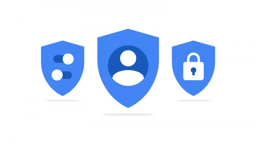 Three blue shields, with people, switches, and locks icons.