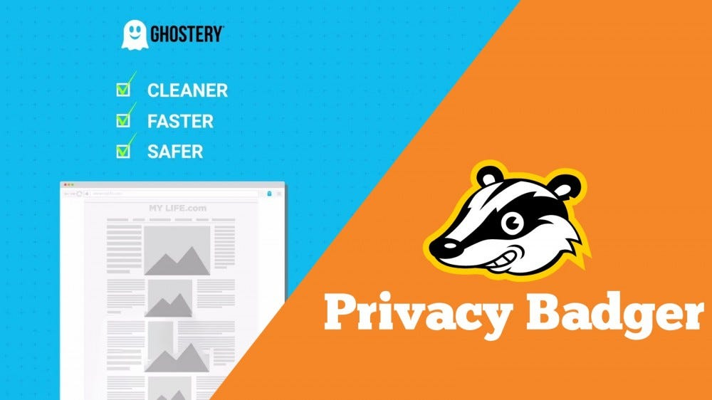 Privacy Badger and Ghostery logos.