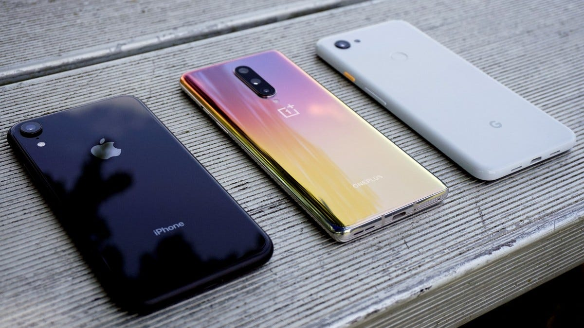 OnePlus 8 compared with iPhone XR and Pixel 3a XL