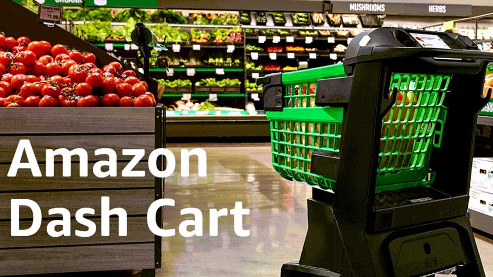 An Amazon Dash Cart in green and black.