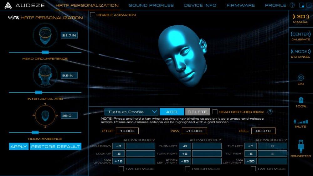 Audeze HQ szoftver, 3D nyomkövetés