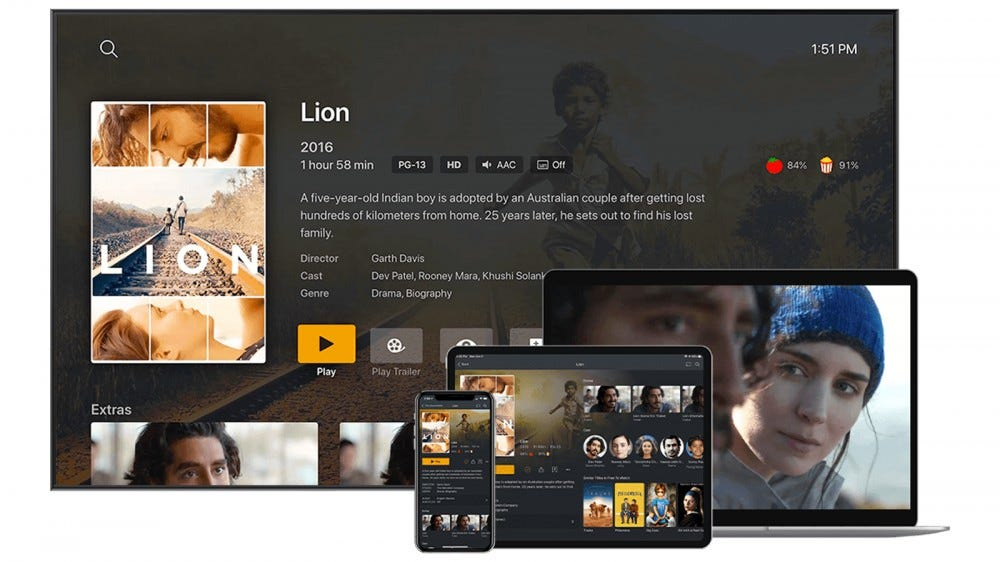 Plex on TV, laptop, tablet, and smartphone