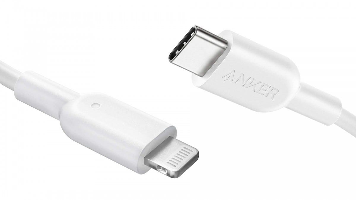 A photo of Anker's USB-C to Lightning cable.
