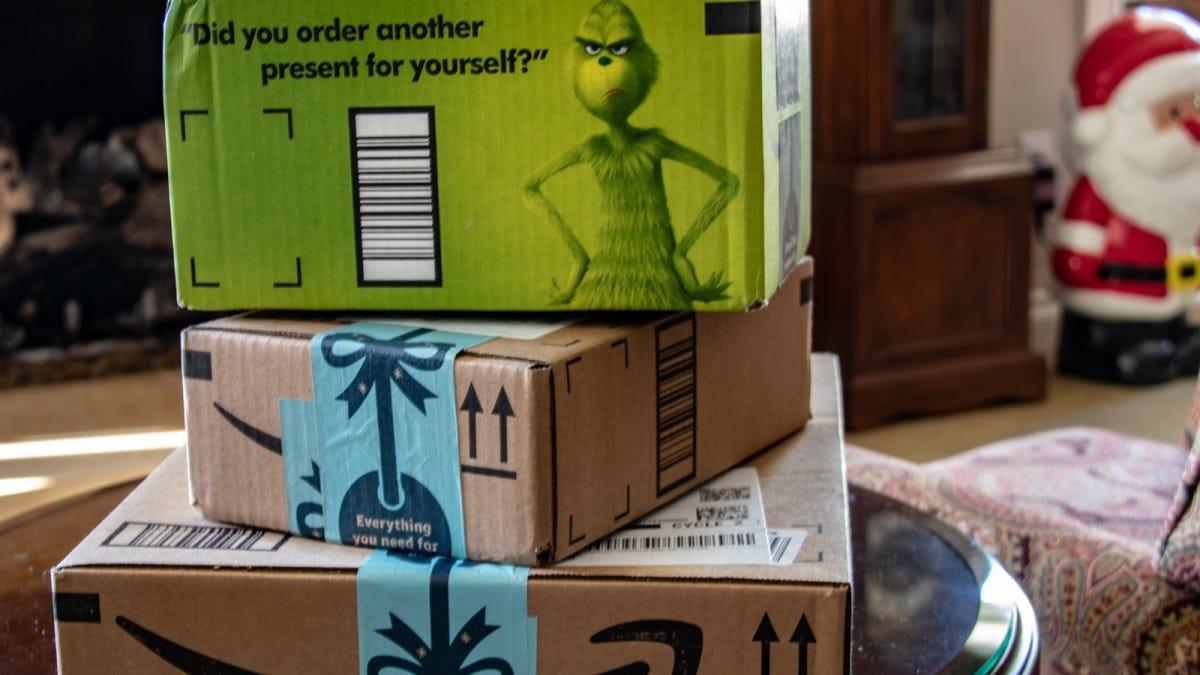 Amazon boxes ready for Christmas