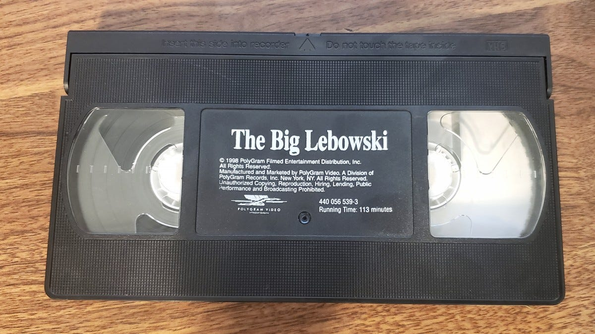 "A VHS tape of ""The Big Lebowski."""