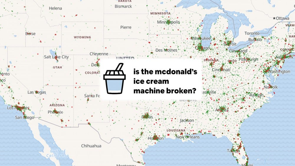A screenshot of the McBroken ice cream map.