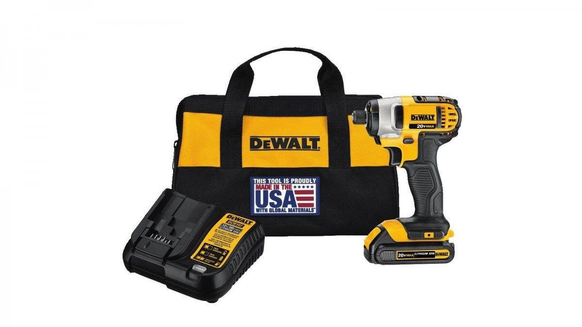 A DEWALT impact driver with battery, charger, and case.
