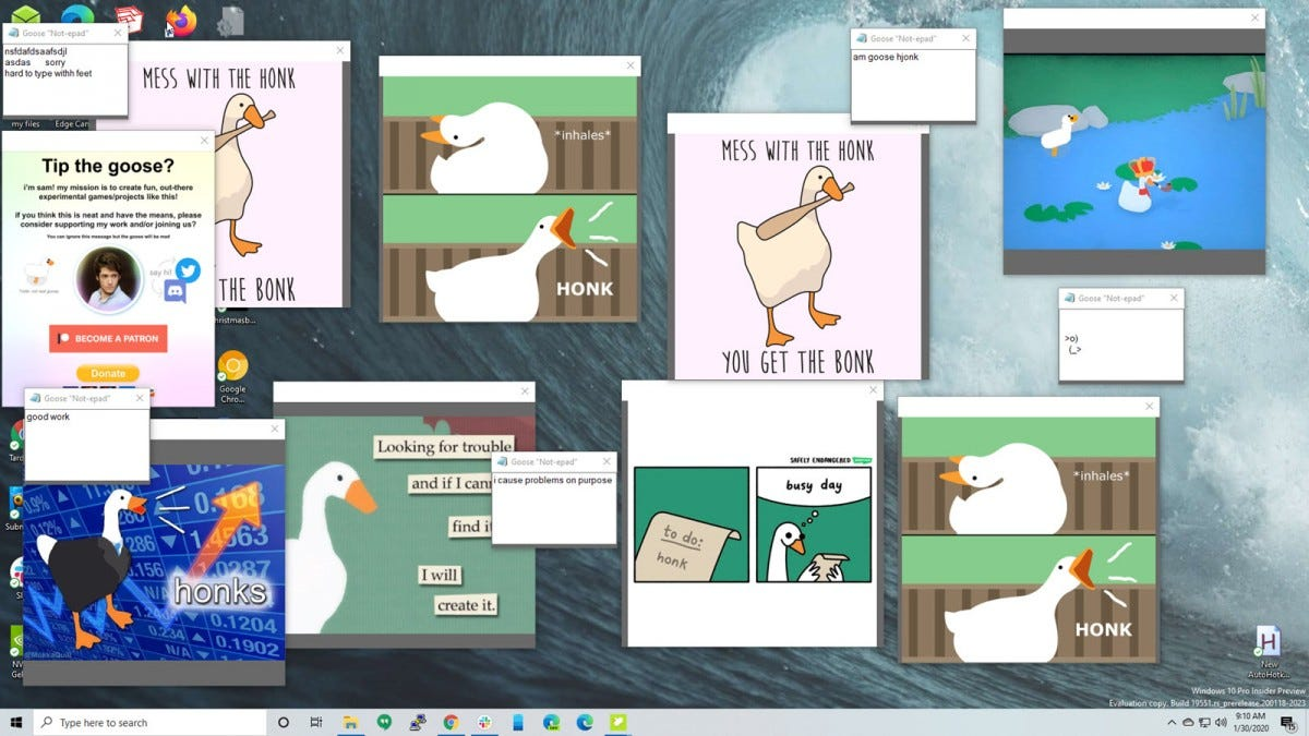 A desktop littered with windows filled with Goose artwork