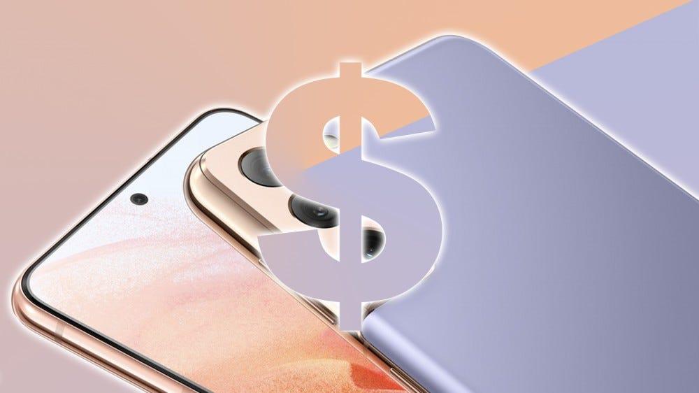 A Galaxy S21 fényképe és egy dollárjel.