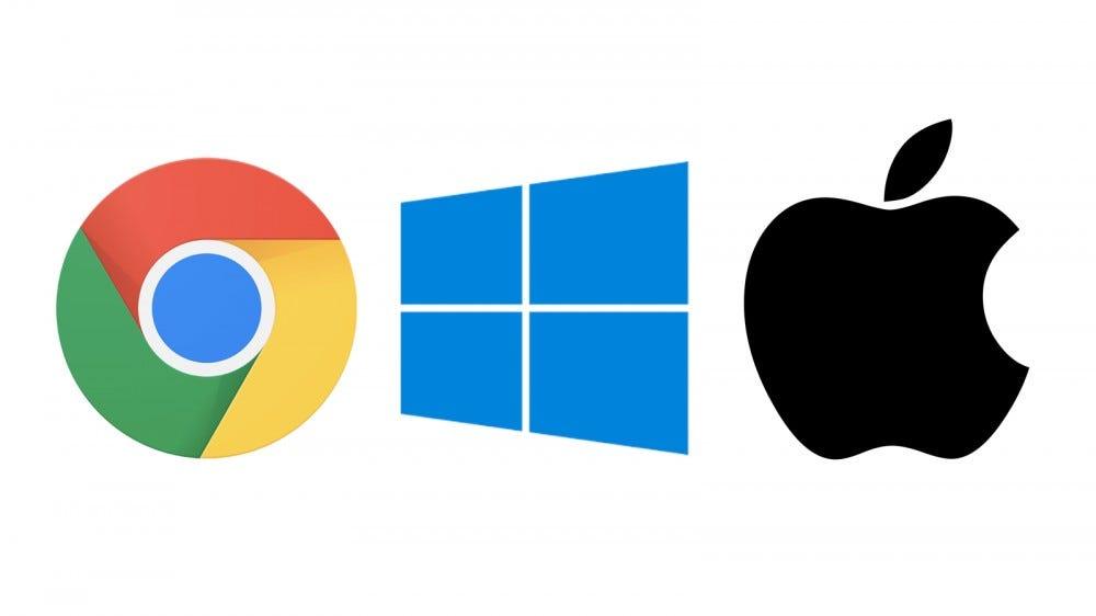 The Chrome, Winodws, and macOS logos.