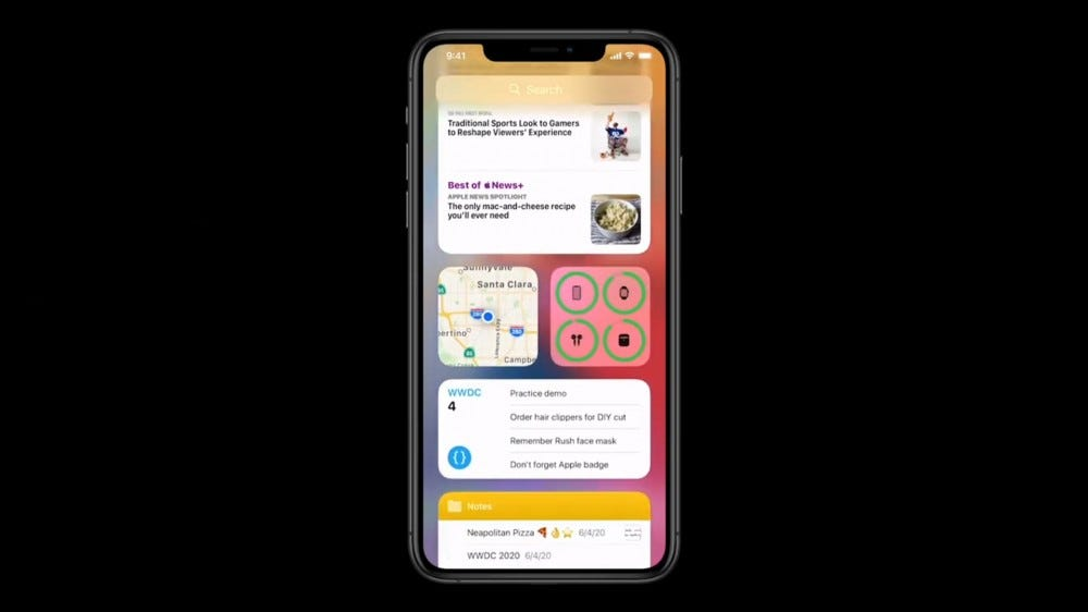 A photo of the iPhone 11 running iOS 14.