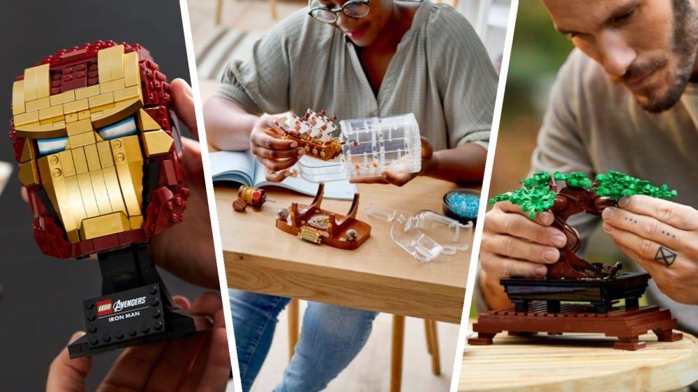 LEGO Marvel Iron Man sisak, ötleteket szállító üvegben és Creator Expert Bonsai fa kollázsban