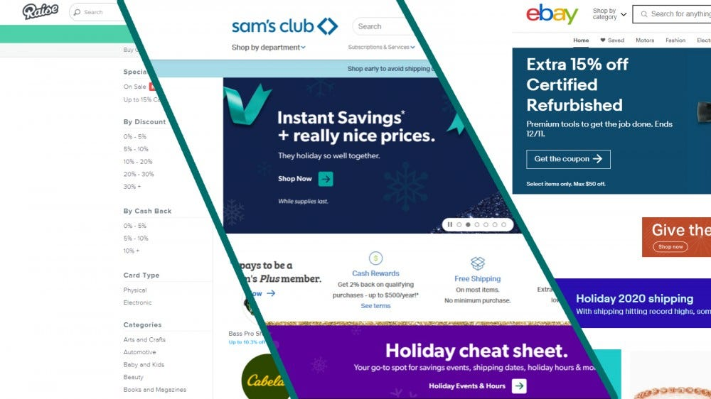 عکسهای صفحه های Raise.com ، Sam's Club و eBay