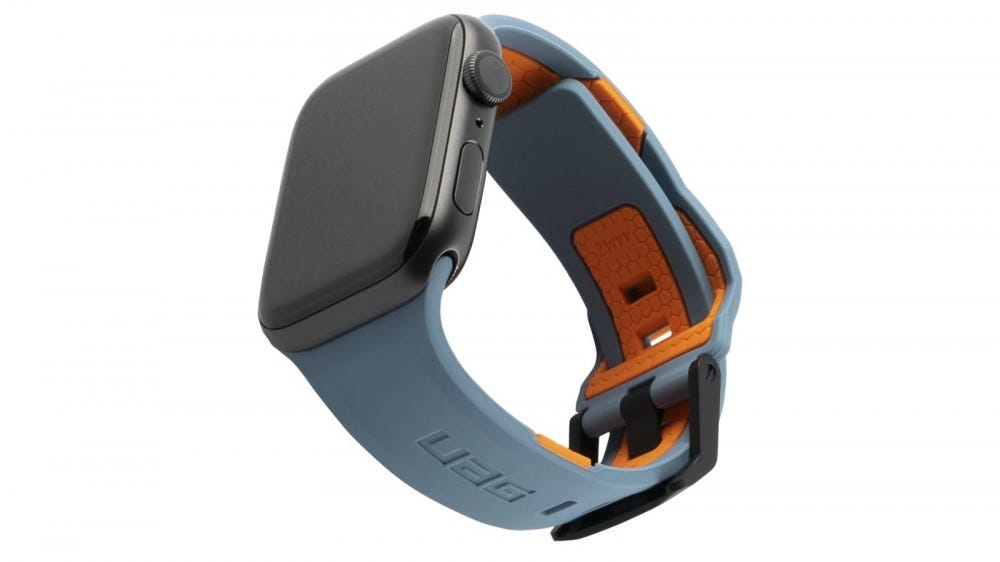 An Apple watch with a Civilian sereies blue and orange watch strap.