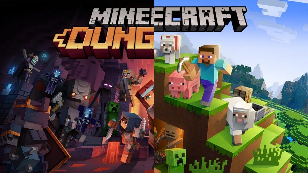 A split-view of 'Minecraft Dungeons' and 'Minecraft:Java Edition.'