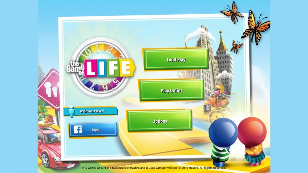 The Game of Life main screen with game options