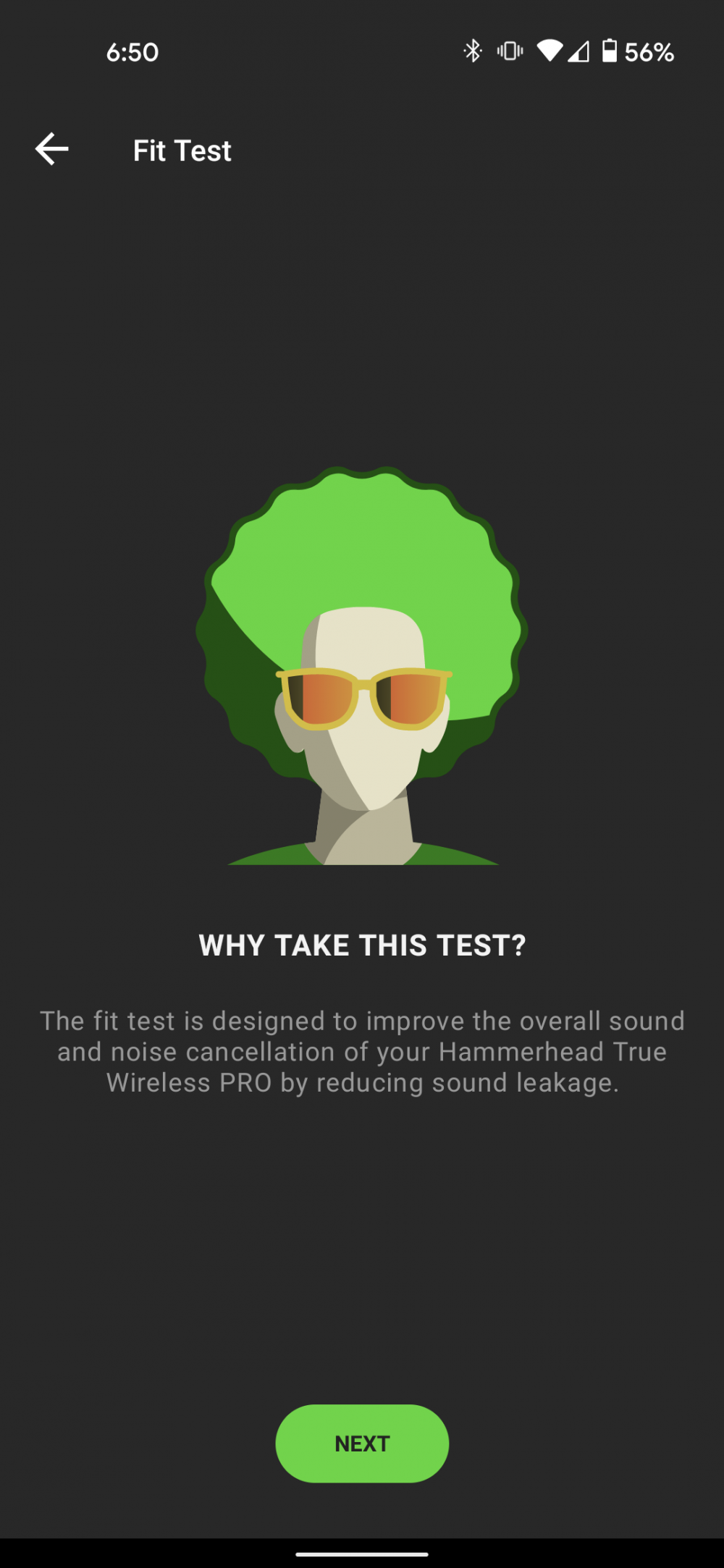 A screenshot of the fit test