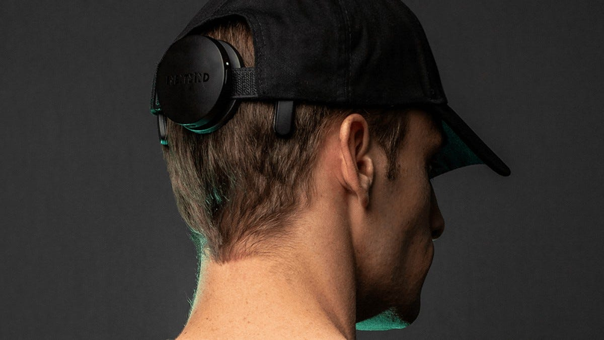 NextMind device on the back of a baseball cap.