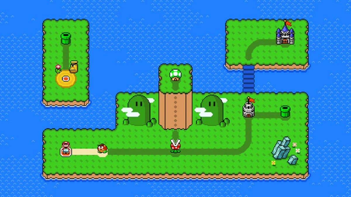 Một cái nhìn bao quát về một trò chơi Mario, với nhiều cấp độ và một lâu đài.