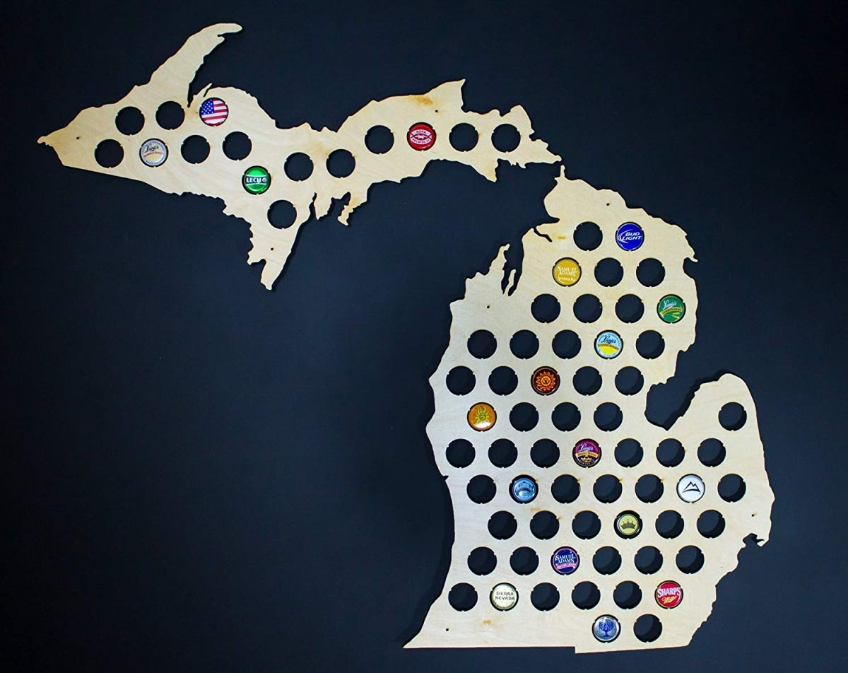 These state cutout bottlecap displays are perfect for local microbrews.