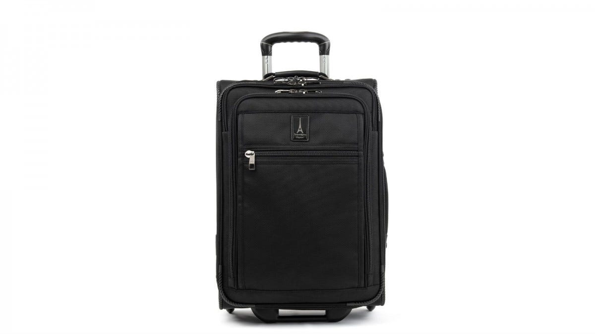 The TravelPro Crew Expert Max Carry-On Expandable Rollaboard Suitcase.