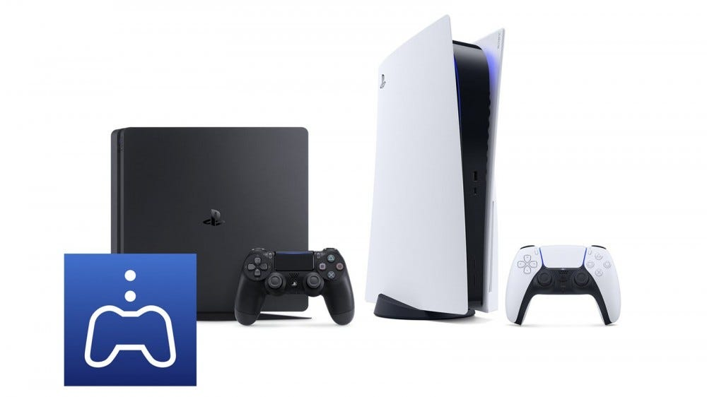 A PlayStation 4 and a PlayStation 5 behind a PS Remote Play icon.