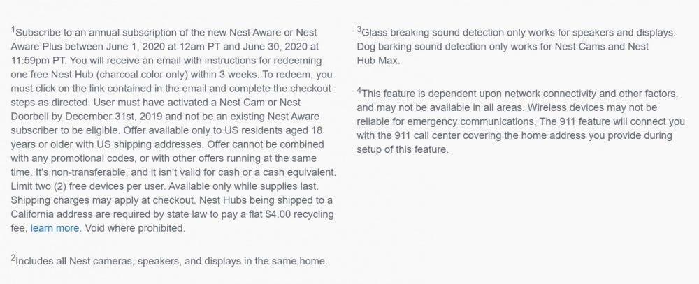 Nest Aware free Nest Hub promotion fine print