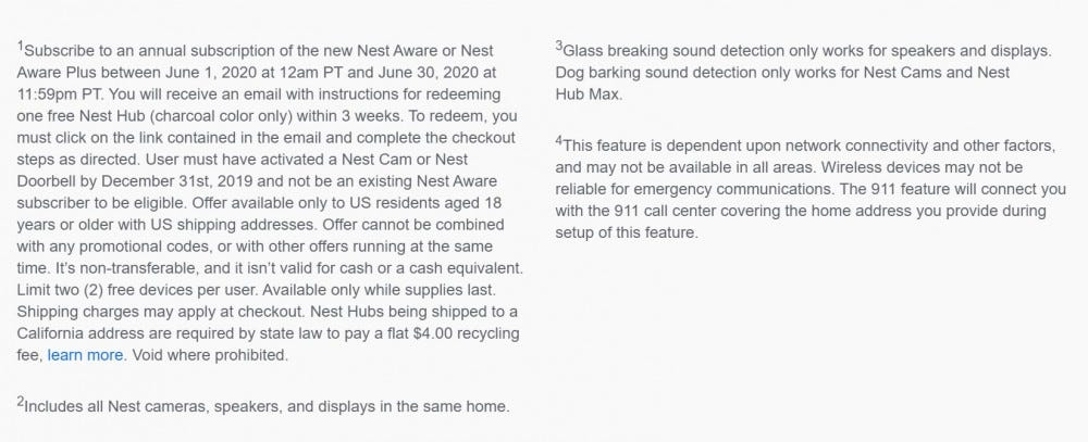 Nest Aware free Nest Hub promotion fine print