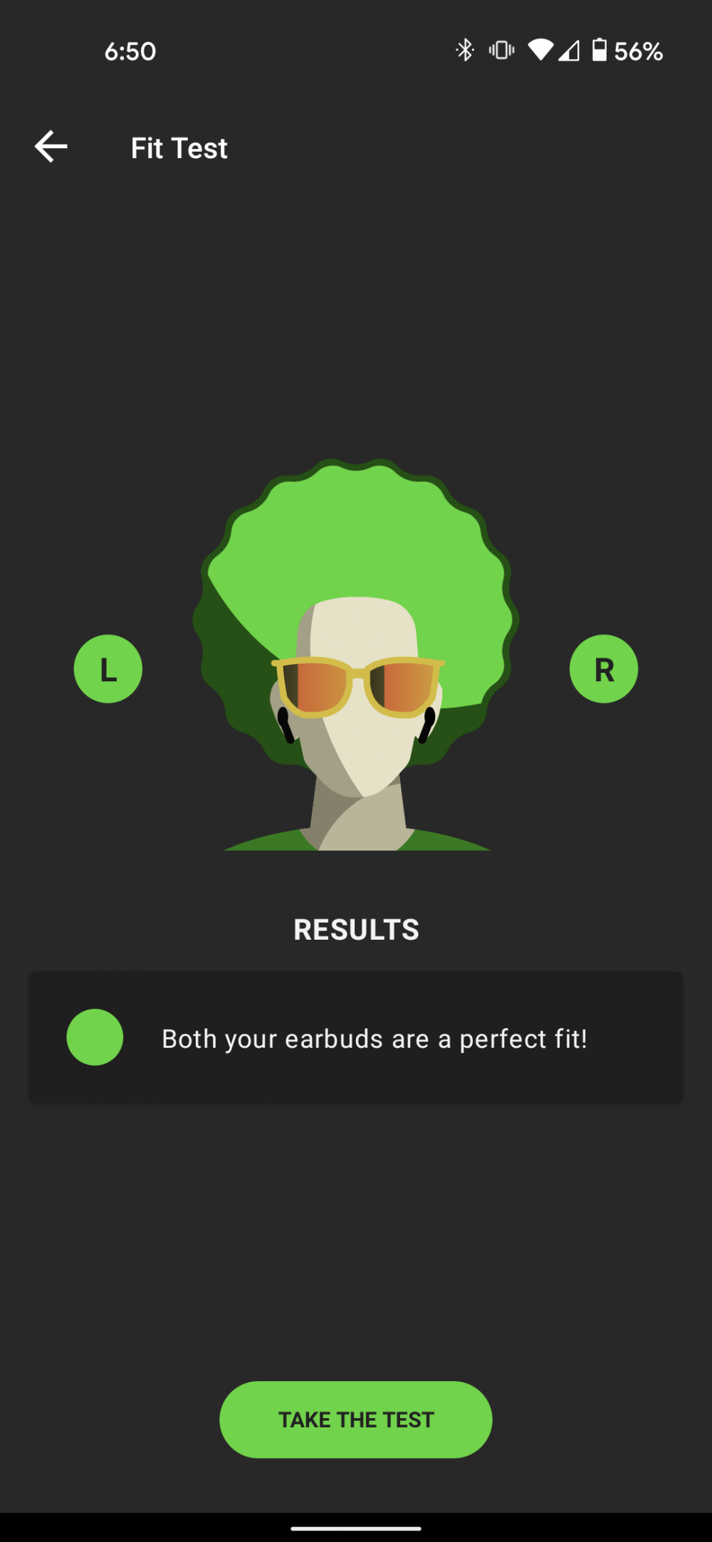 A screenshot post-fit test