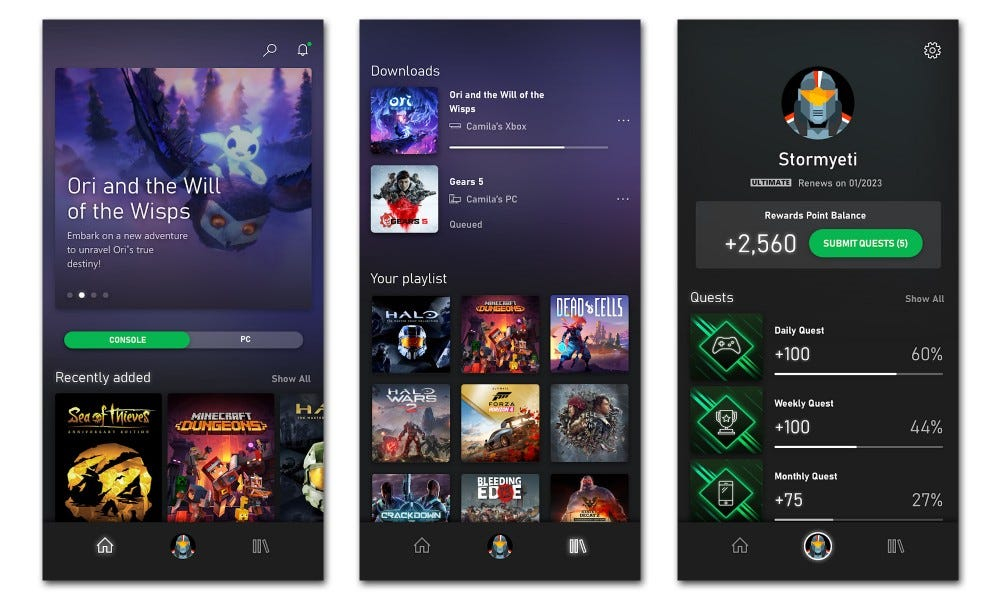 Xbox Game Pass streaming screenshots