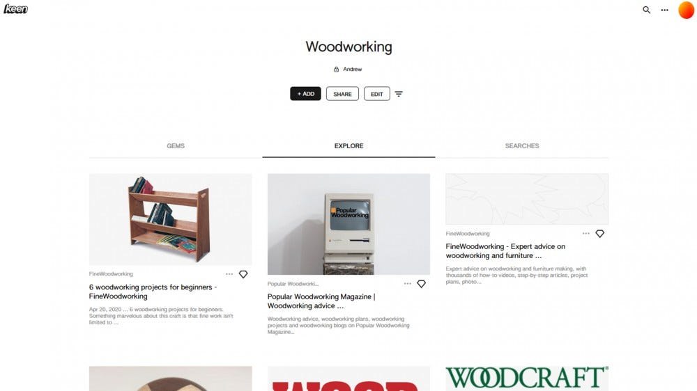 "A screenshot of my Keen ""Woodworking"" page."