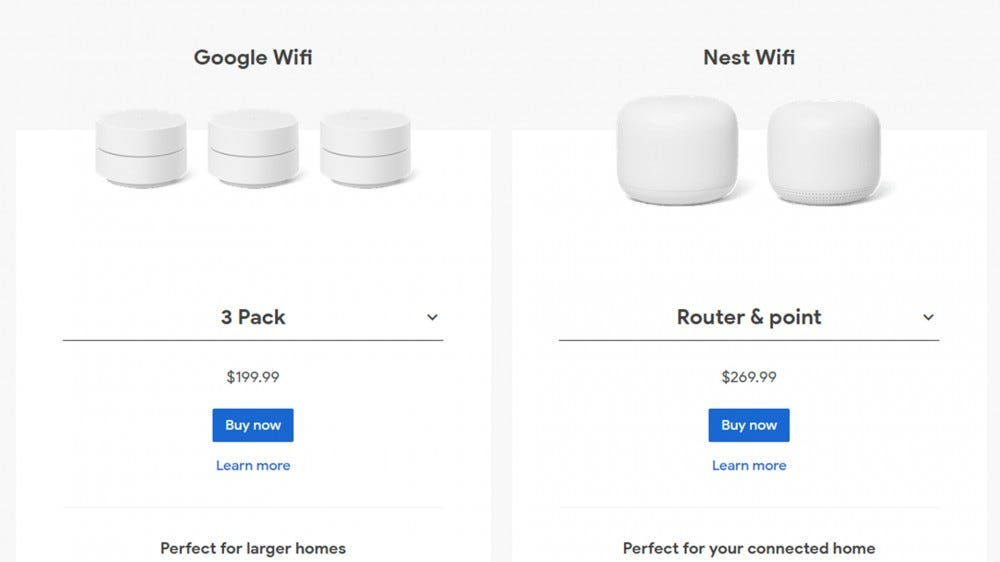 A comparison between Google Wi-Fi and the more expensive Nest Wi-Fi.