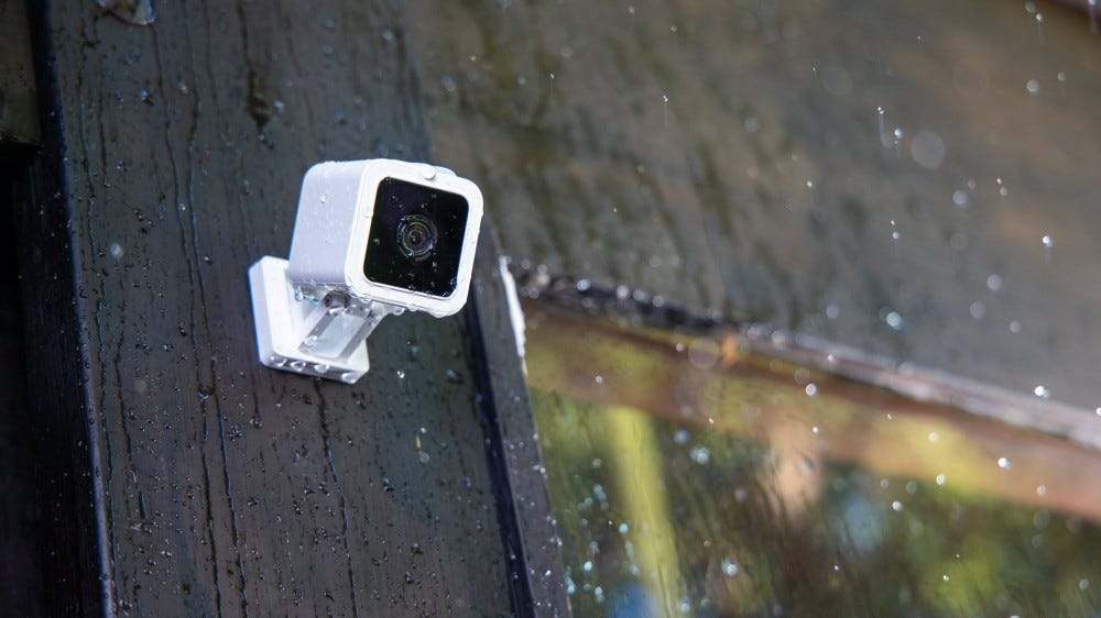 A Wyze Cam v3 outside in the rain.