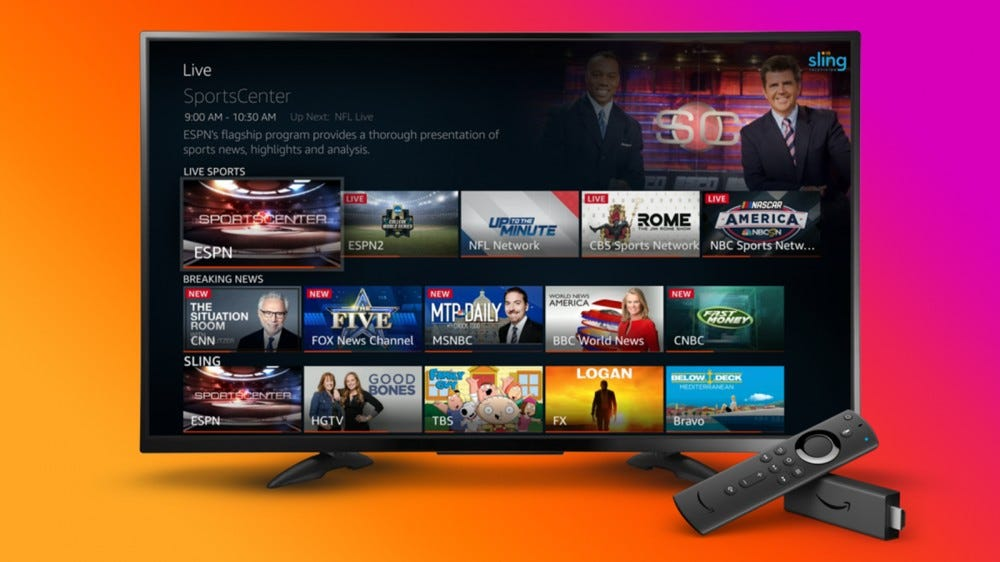 A Fire TV that shows live content from multiple sources.