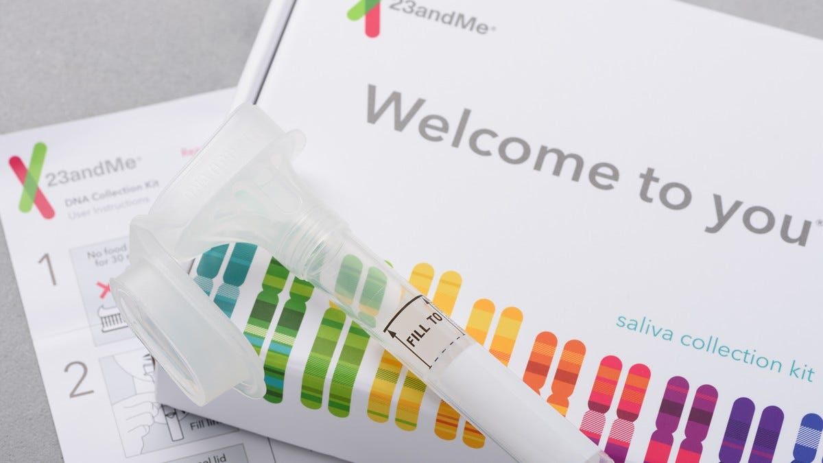 A photo of the 23andME DNA testing kit.
