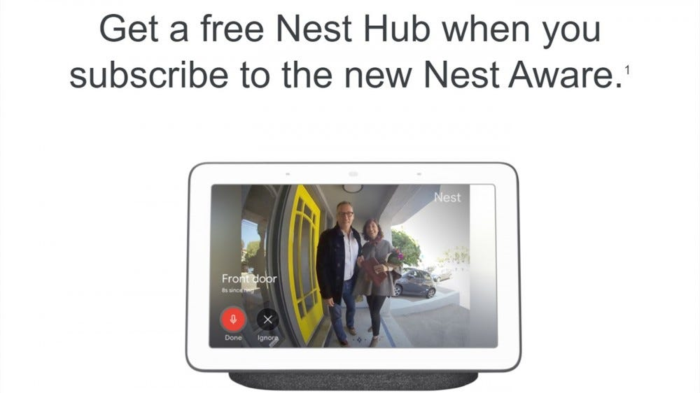Nest Aware free Nest Hub off