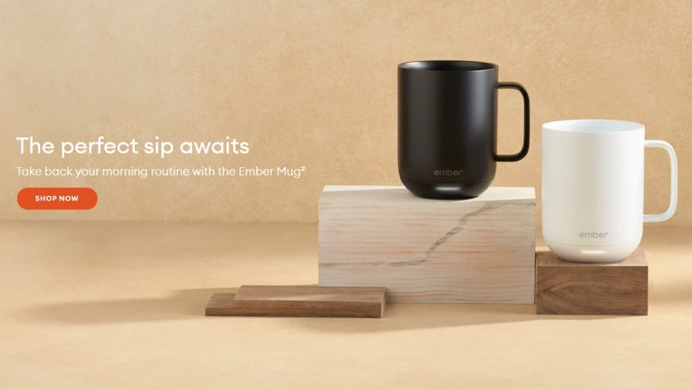 Ember temperature control smart mug against brown background