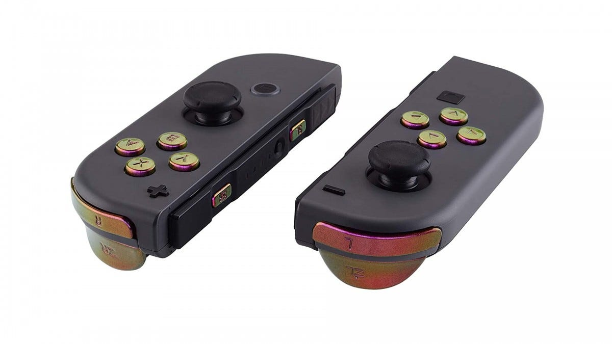 A photo of the JoyCon with eXtremeRate buttons.