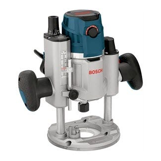 A Bosch plunge router with stop bar showing.